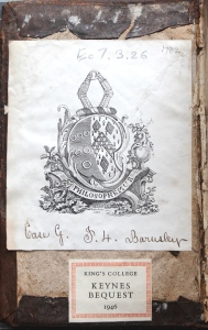 Bookplate on inside front board of Keynes.Ec.7.3.26