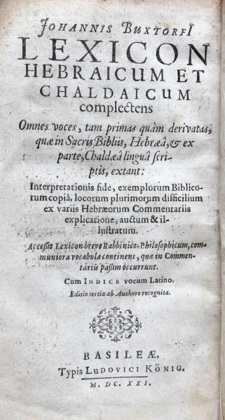 Keynes.Ec.7.3.26 Lexicon Hebraicum et Chaldaicum - title page