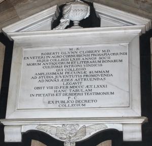 Memorial tablet in the College chapel