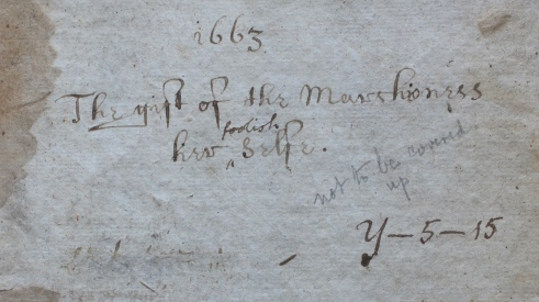 Manuscript inscription on front pastedown of The Philosophical and Physical Opinions, 1663 (Classmark:  J.6.11)