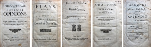 Title pages of five of Margaret Newcastle's publications held in King's College Library.