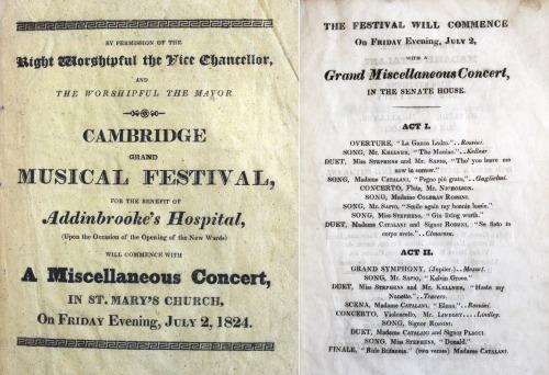 Programme for Cambridge Grand Musical Festival. London: W. Glindon, 1824. Mn.22.7