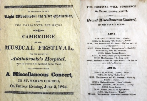 Programme for Cambridge Grand Musical Festival. London: W. Glindon, 1824. Mn.22.7