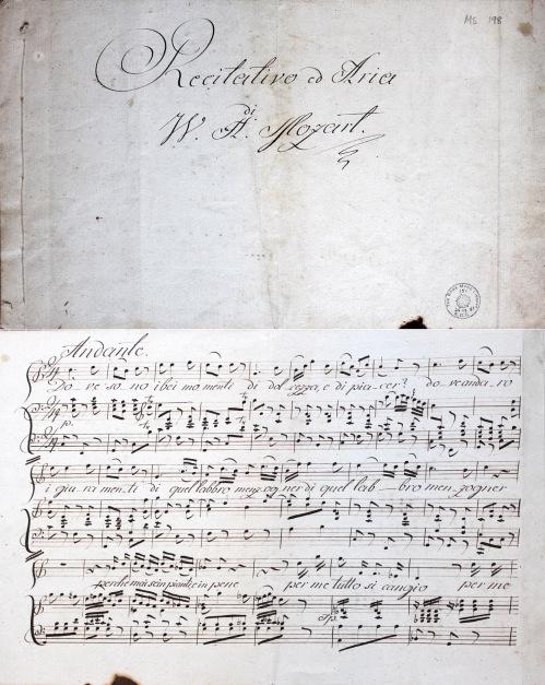 'E Susanna non vien! ... Dove sono i bei momenti' from Le nozze di Figaro / Wolfgang Amadeus Mozart. Manuscript, late 18th century. Rowe Ms 198