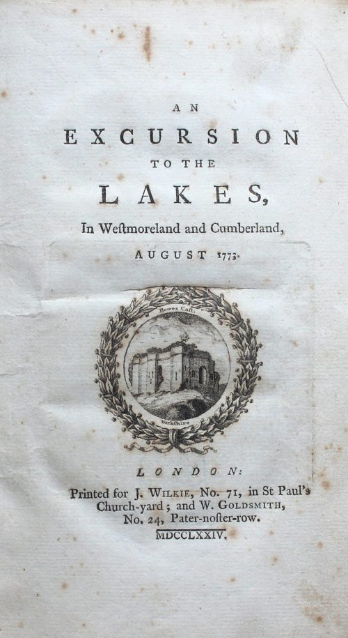 William Hutchinson, An Excursion to the Lakes in Westmoreland and Cumberland (London: printed for J. Wilkie & W. Goldsmith, 1774) Bicknell.1