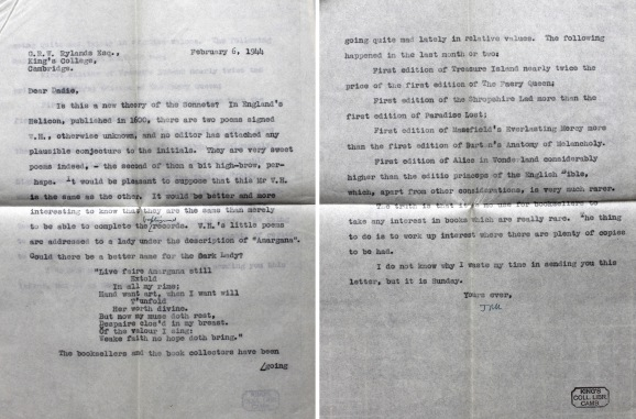 Carbon copy of Keynes's letter to Dadie Rylands, 6 February 1944