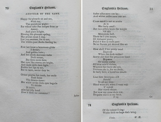 The second poem by W. H. in England's Helicon, pp. 70-72