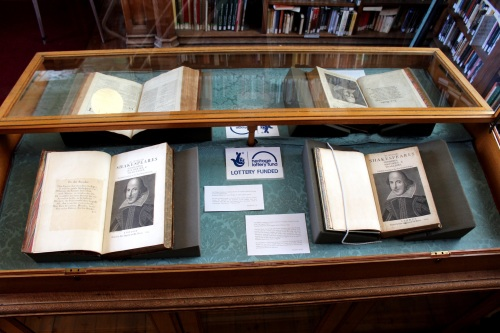 Shakespeare's First Folio (right) next to the 1807 facsimile reprint (left)