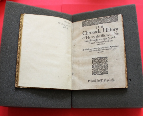 William Shakespeare, The Chronicle History of Henry the Fift London: Printed [by William Jaggard] for T[homas] P[avier], 1608 [i.e. 1619]
