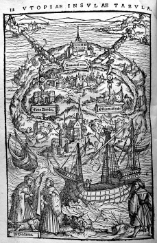 Ambrosius Holbein's engraving of the island of Utopia in Thomas More's De optimo reip[ublicae] statu, deque noua insula Vtopia (Basel: Johann Froben, March 1518) Thackeray.J.46.7