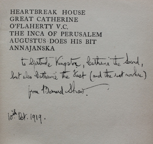 Inscription by George Bernard Shaw
