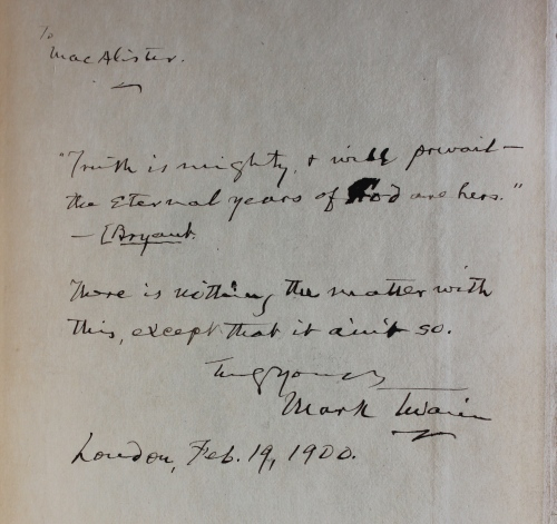 Inscription by Mark Twain