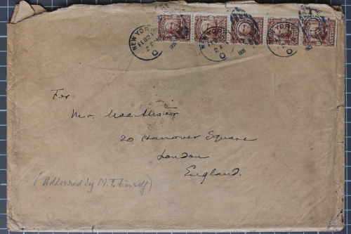 Envelope addressed by Mark Twain